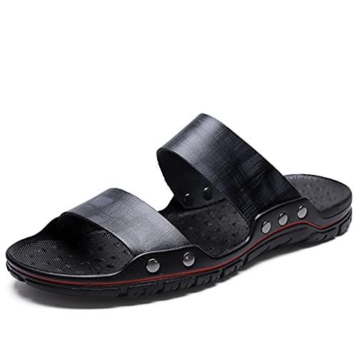 ANLEI Sandalias Hombre Sandalias para Hombres Ligeros PU Cuero Transpirable Toe Abierto Casual Soporte Solapa Slip en seco rápido 38-48 Cómodo Suave (Color : Black, Size : 40 EU)