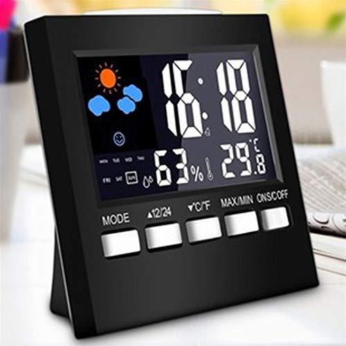 Wetterstation Digital Hygrometer Wireless Sensor Vorhersage Temperatur LCD-Wecker Wecker Wecker (Color : Black)