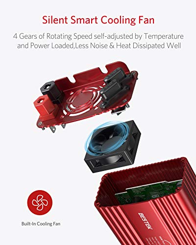 BESTEK 500W Pure Sine Wave Power Inverter DC 12V to AC 110V Car Plug Inverter Adapter Power Converter with 4.2A Dual USB Charging Ports and 2 AC Outlets Car Charger, ETL Listed