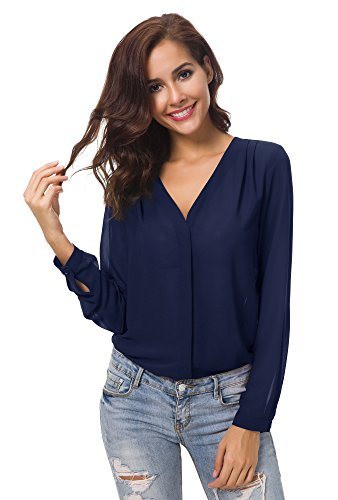 Urban CoCo Womens V Neck Ruffled Shoulder Solid Chiffon Blouse (Large, Navy Blue)