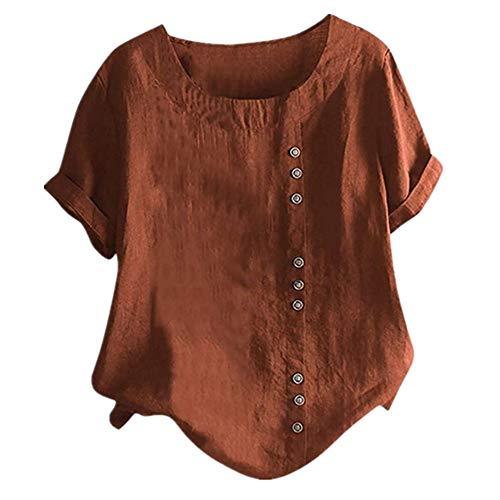 Shirt Damen Top Sommer Blouse Frauen Elegant Oberteile Rundhal Blusen Kurzarm Bluse Freizeit Sexy Tunika T-Shirt Casual Lose Knopf Hemd Tops Das Neue Kleidung