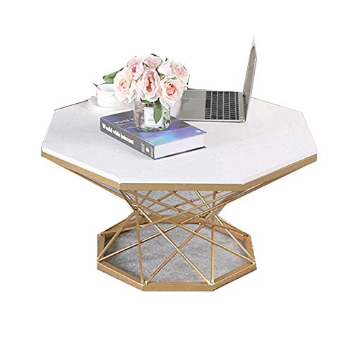 Coffee Tables Marble Coffees End Tables Modern Furniture Decor Side Table Round Occasional Stand Tea Table for Living Room Home And Office Golden Frame,60 cm
