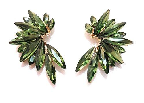 Pendientes cristales coloridos mujer alta bisutería fiesta, chapado oro verde bosque