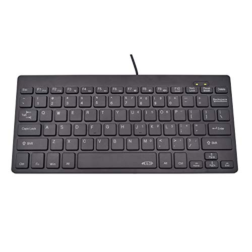 HLILOP Small Keyboard Thin Slim Portable 78 Wired Laser US English Layout Black for Laptop PC