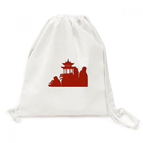 DIYthinker China-Pavillon Berg Silhouette Illustration Leinwand Rucksack-Reise Einkaufstaschen