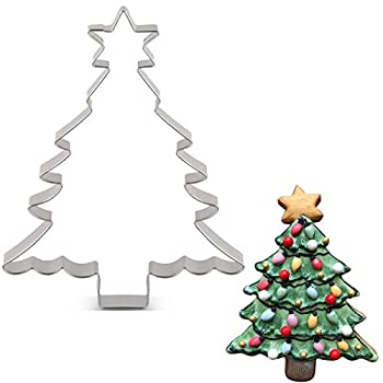 LILIAO Christmas Tree with Star Cookie Cutter - 4.4 x 5.6 inches - Stainless Steel