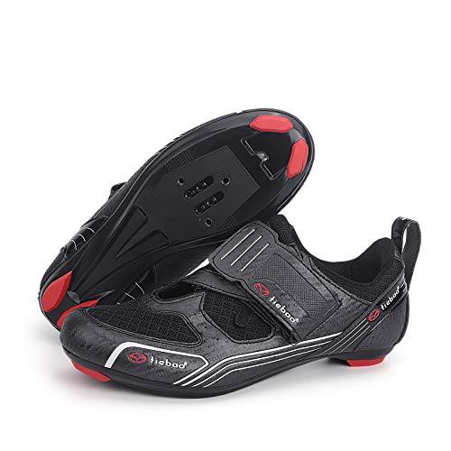 MiFeloo Zapatillas de montar Peloton para exteriores de triatlón, para ciclismo o para interiores y exteriores, compatibles con tacos de 3 pernos o 2 pernos para hombres y mujeres, Black, 44 EU