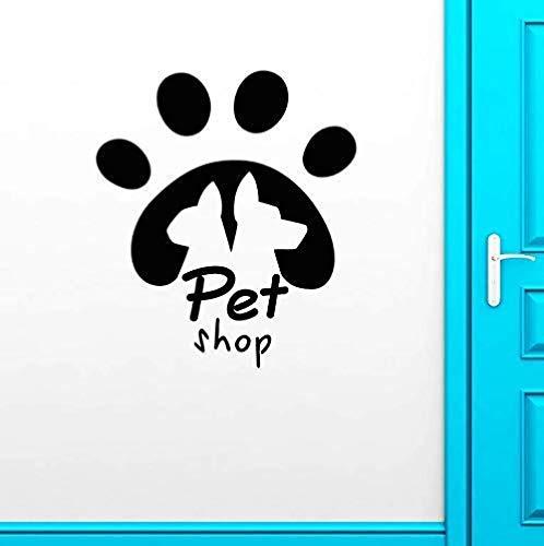Muurstickers Art Decal Vinyl Murals Huisdier Shop Logo Teken Kat Hond Dier Voetafdruk Track Raam Interieur Art 64X57cm