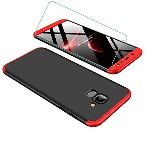 Joytag Coque Samsung A6 2018 Rouge Noir 360 degrés Tout Inclus 3 dans 1 PC Bumper+Film de Verre trempé Rouge Noir
