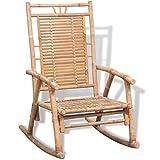 vidaXL Silla Mecedora de Jardín de Bambú Asiento Balancín Patio Terraza Porche