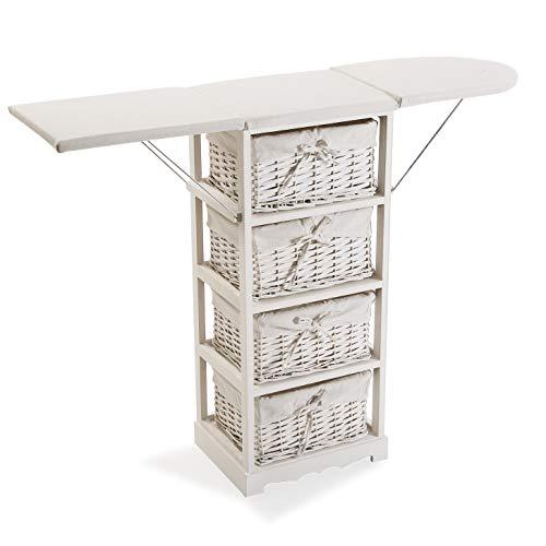 Versa 21160021 Mueble cajonera con 4 cestas para Planchar Basic, Madera, Blanco, 85 x 30 x 110 cm