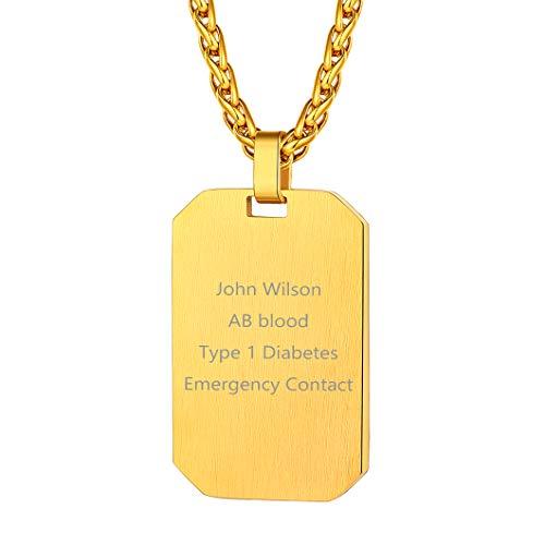 Richsteel Personalizado Colgnate de Oro baño Placa de identificación Cadena de Acero Inoxidable para Hombres Mujeres Regalo para Navidad Cumpleaños San Valentín