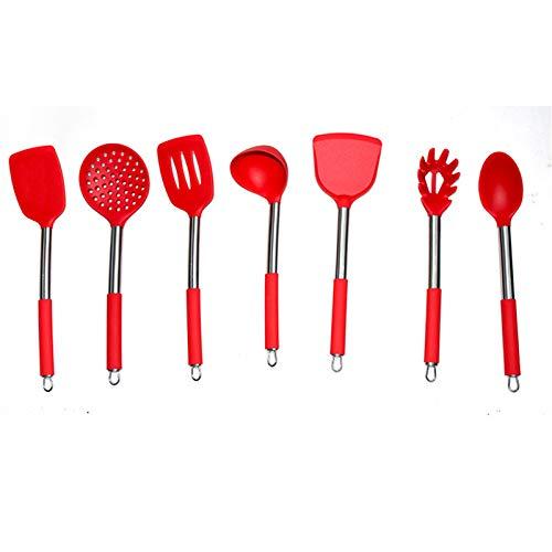 Juego de herramientas de cocina de Hanhou Herramienta de cocina resistente al calor Silicona Sólido de acero interior sin paleta de silicona de 7 piezas Conjunto de red