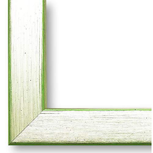 Online Galerie Bingold Bilderrahmen Erlangen Silber, Kante Grün 2,0 I 10 x 10 cm mit Normalglas (WRF) I handgefertigte Holz Fotorahmen I Holzrahmen mit Glas inkl. Montagematerial