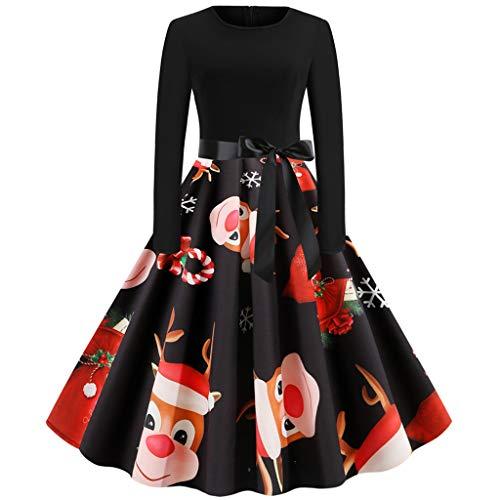 beetleNew Womens Dress Robe de Cocktail rétro pour Femme avec imprimé Renne et élan - Robe plissée - Style années 50 - Col Rond - Manches Longues - Taille Haute - Longueur mi-Mollet - Noir - M