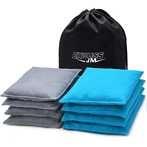 JMEXSUSS Weather Resistant Standard Corn Hole Bags, Set of 8 Regulation Cornhole Bags for Tossing Game,Corn Hole Beans Bags with Tote Bag (Grey/Light Blue)