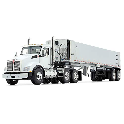 First Gear 1/50 Scale Diecast Collectible White/Chrome Kenworth T880 with East Genesis End Dump Trailer (50-3454)