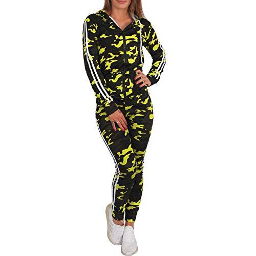 C.G 2tlg Neon Camouflage Trainingsanzug Jogginganzug Kapuze Sportanzug Hausanzug P087 (Gelb, XL/XXL = L/XL)