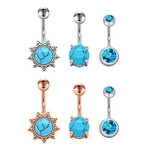 Navelpiercing 14G chirurgisch staal staaf 10mm navel piercing bananabells voor dames meisjes turquoise CZ Inlaid Curved Barbell piercing sieraad