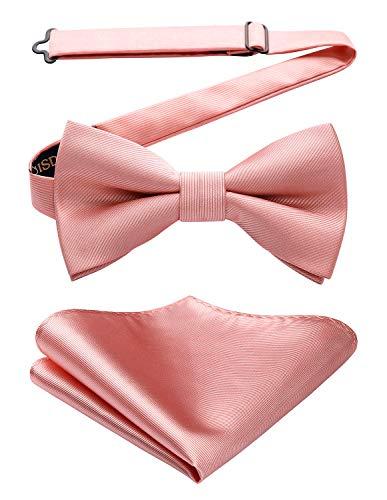 HISDERN Pajarita para hombre corbatín pañuelo Corbatas de lazo preatadas ajustable disponible para fiesta de bodas