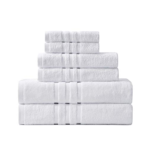 Hoimann 6 Piece Hotel Quality Bath Towel Set, 2 Oversized 750 GSM Bath Towels 2 Hand Towels 2 Washcloths , 100% Cotton Quick Dry Ultra Soft and Absorbent Towels for Bathroom (White, 6)