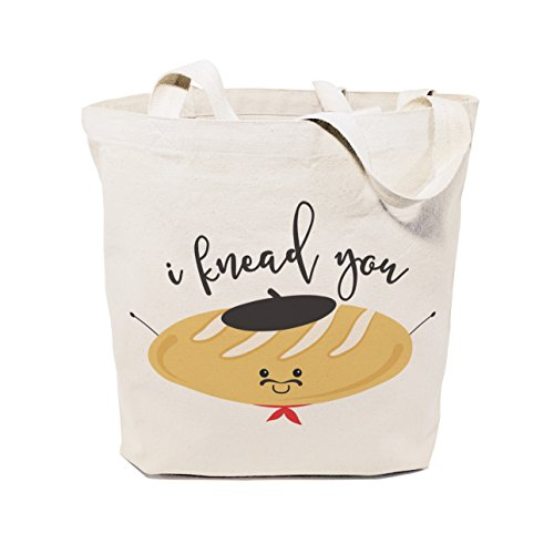 The Cotton & Canvas Co. I Knead You Reusable Grocery Bag and Farmers Market Tote Bag