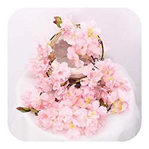 Lifelike Artificial Flowers, Flower Vine Cherry Blossom DIY Wedding Home Holiday Layout Garland Christmas Decor Fake Silk Rattan Wisteria,Pink B