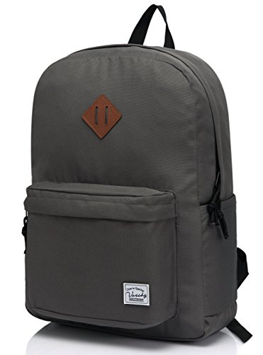 Lightweight Backpack for School, VASCHY Classic Basic Water Resistant Casual Daypack for Travel with Bottle Side Pockets (Gray)