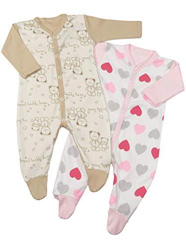 Klekle Baby Mädchen Schlafanzüge (2er Pack) Herz Rosa Beige Bär 22813 Größe 98
