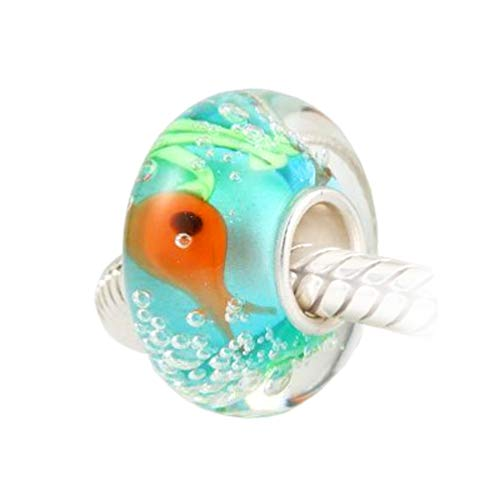 Andante-Stones 925 Sterling Silber Murano Bead Charm Aquarium Element Kugel für European Beads + Organzasäckchen