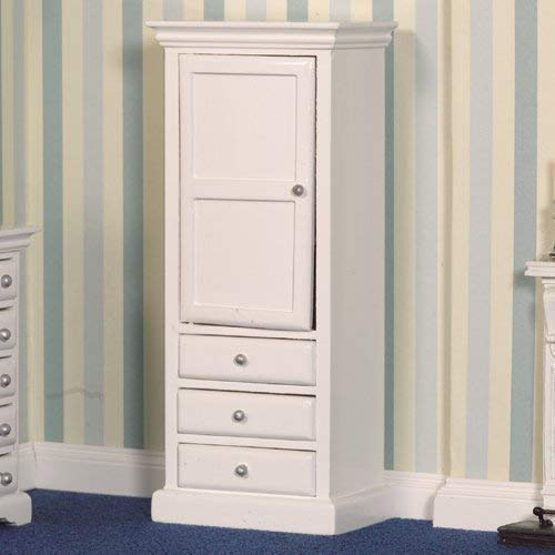 Dolls House 2758 armoire avec tiroirs 1:12 blanches pour maison de poupée