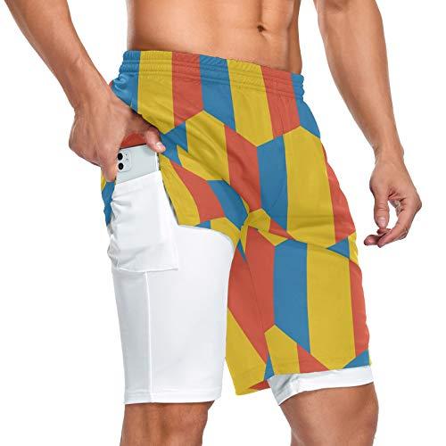 Chad Flag - Pantalones cortos deportivos para hombre, 2 en 1, con bolsillo