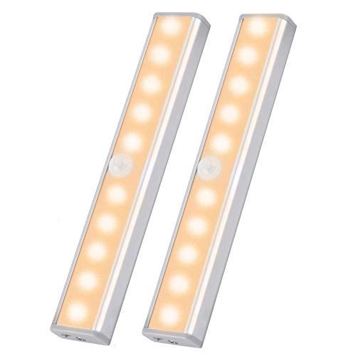 NEC 10 luces LED para armarios inalámbricas USB recargables con 2 tiras magnéticas para colgar en armarios, escaleras y paredes de cocina