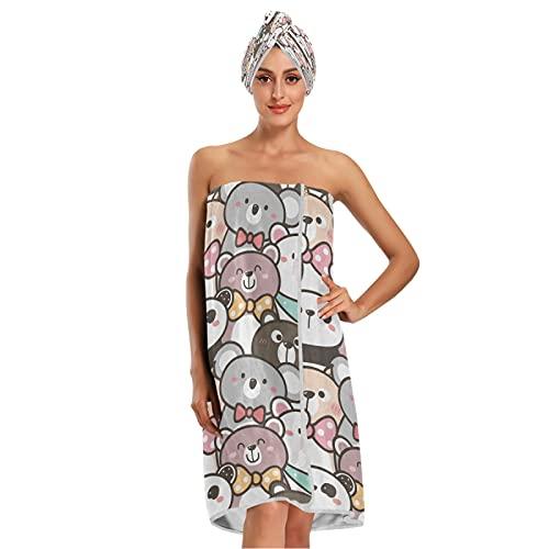 Cartoon Bear Funny Panda Cute Koala Bath Towels Wraps Set 3 Pieces, 1 Bath Robe for Women Teen Girls, 1 Hair Towel Wrap Cap, 1 Comfortable Headbands Body Wrap Beach Towels