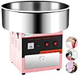 Cotton Candy Machine -Nurxiovo 21 Inch Large Electric Commercial Cotton Candy Maker Machine Stainless Steel Tabletop Candy Floss Maker with Sugar Scoop and Big Drawer Pink for Various Parties