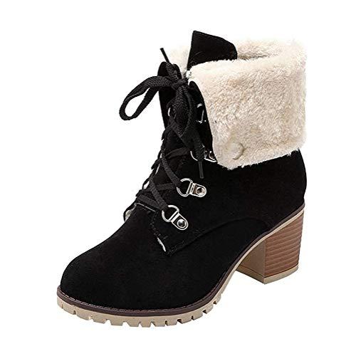Minetom Damen Worker Boots Einfarbige Schnürsenkel Hohe Absätzen Stiefeletten Mit Schnalle Blockabsatz Schuhe Outdoor Stiefel Schwarz 36 EU