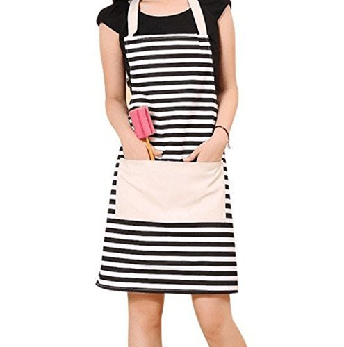 GYBest Cotton Canvas Women's Apron with Convenient Pocket Durable Stripe Kitchen and Cooking Apron for Women/Men Professional Stripe Chef Apron for Cooking, Grill and Baking (black and white)