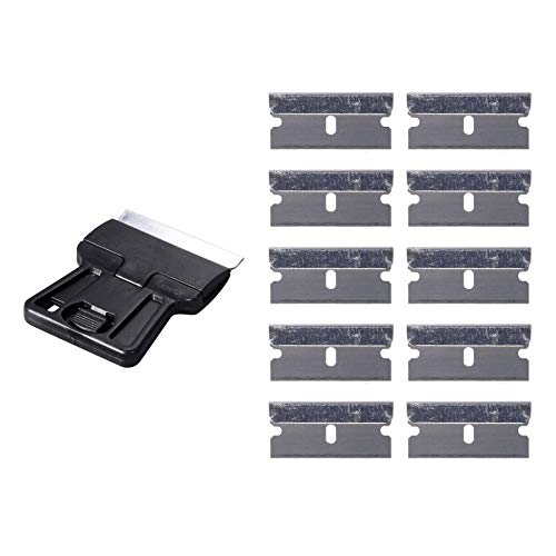 Ehdis Mini Ceranfeldschaber Schaber mit 10 Kohlenstoffstahl klingen Scraper Razor Remover Sicherheits Farbschaber Lackschaber für Vinyl Aufkleber Sticker entfernen Glas und Fenster