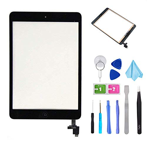 Tefir Black iPad Mini 1 & 2 A1432 A1489 Touch Screen Digitizer Front Panel Glass Lens Repair Replacement Black-Includes IC Chip+ PreInstalled Adhesive +Tools Kit