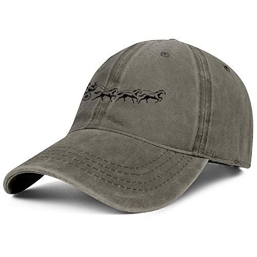 Unisex Low Denim Dad Hat Washed Wells-Fargo-Black-Carriage-Logo- Tennis Baseball Hat