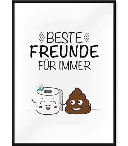 Papierschmiede Spruch-Poster   DIN A4 fertig gerahmt im schwarzen Bilderrahmen aus Echtholz   WC - Beste Freunde für Immer