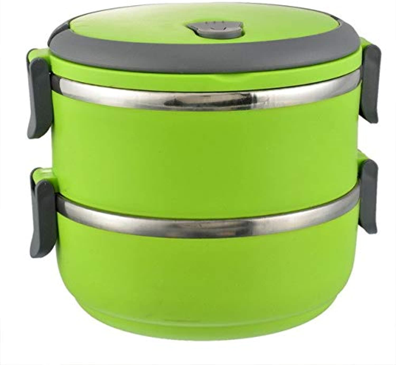 Farmerly Hoomall 1PC Food Container Snack Box Bento Dinnerware Sets Stainless Steel Round Insulation Bento with Handle Kitchen Tools   Green 2 Layers