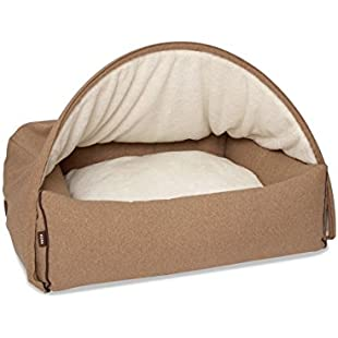 Kona Cave® Designer Cave Dog Bed with Detachable Cover - Medium - Tan/Light Brown Flannel