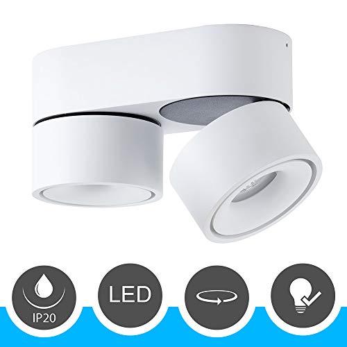 famlights LED Deckenspot 2-flammig, Metall, weiß, inkl. LED | LED Wandleuchte, LED Wandspot, Deckenspot LED, Deckenstrahler, Wandlampe, Wandstrahler | LED Strahler | 350° drehbar, 90° schwenkbar
