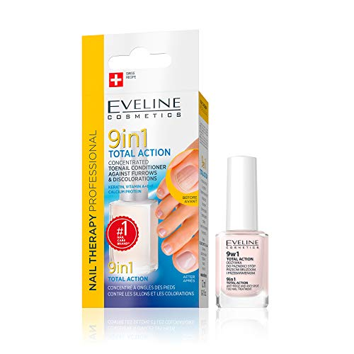 Eveline Cosmetics Concentrated Conditioner für Fußnägel Total Action 9in1 | 12 ml | Bleaching Conditioner gegen Verfärbungen | Verhindert das Vergilben der Nägel | Schöne Maniküre