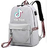 SMACO TIK Tok Mochila Bolso de Escuela de música con Puerto USB, Puerto de Auriculares del Ordenador portátil Morral Y Mochila Casual Bookbag,G