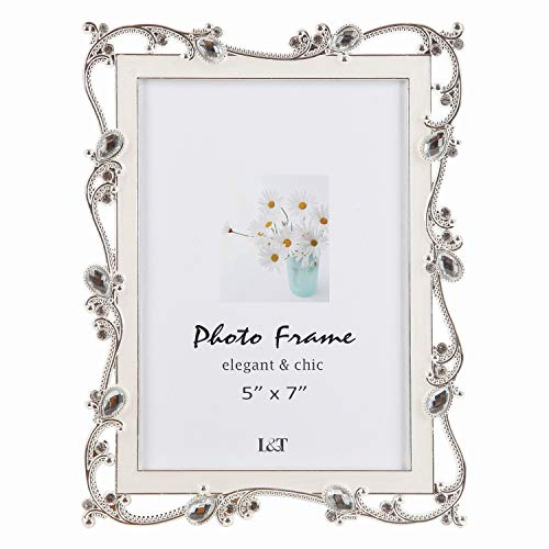 L&T Metal Picture Frame Silver Plated with Cream White Enamel and Jewels 5x7 Inch  Ideal Anniversary Wedding Mother s Day Gift Photo Frame