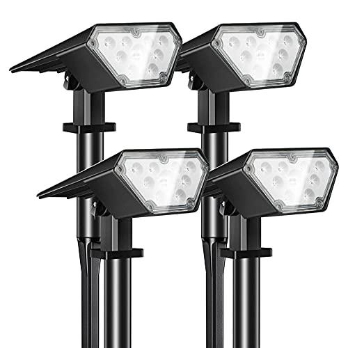 Kefflum Foco solar inalámbrico, 4 x 12 LED, iluminación solar 2 en 1, lámpara de suelo, lámpara de pared ajustable, IP65, para jardines, paisajes exteriores, terrazas, color blanco frío