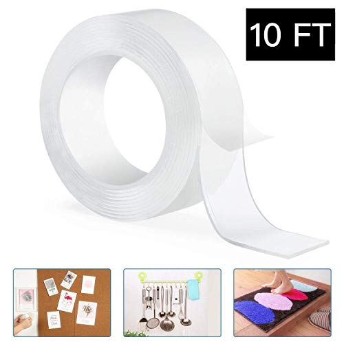 Double Sided Adhesive Tape, Henwu Nano Washable Reusable Clear Traceless Gel Grip Tape, Strong Sticky Removable Mounting Tape Heavy Duty for Carpets/Rugs Fix, Poster/Picture or Wall Decor (10FT)
