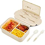 BIBURY Lunch Box, Leakproof Bento Box for Kids Adults, Food Container with 3 Compartments and Cutlery Set, BPA Free, Microwave and Dishwasher Safe Meal Prep Containers - Khaki